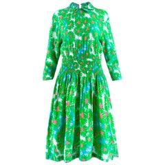 Prada Green Floral Print Stretch Waist Summer Dress 40 (IT)