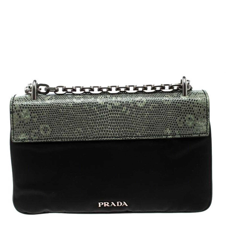 36307cd3e58671 Prada Green Green/Black Nylon and Lizard Shoulder Bag For Sale at 1stdibs