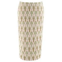 Prada green jacquard floral midi skirt - Size US 6