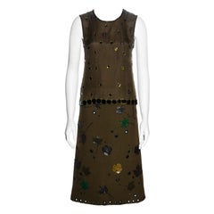 Prada green jewelled silk organza and wool skirt suit, fw 1999