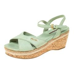 Prada Green Leather Ankle Strap Platform Espadrille Sandals Size 36