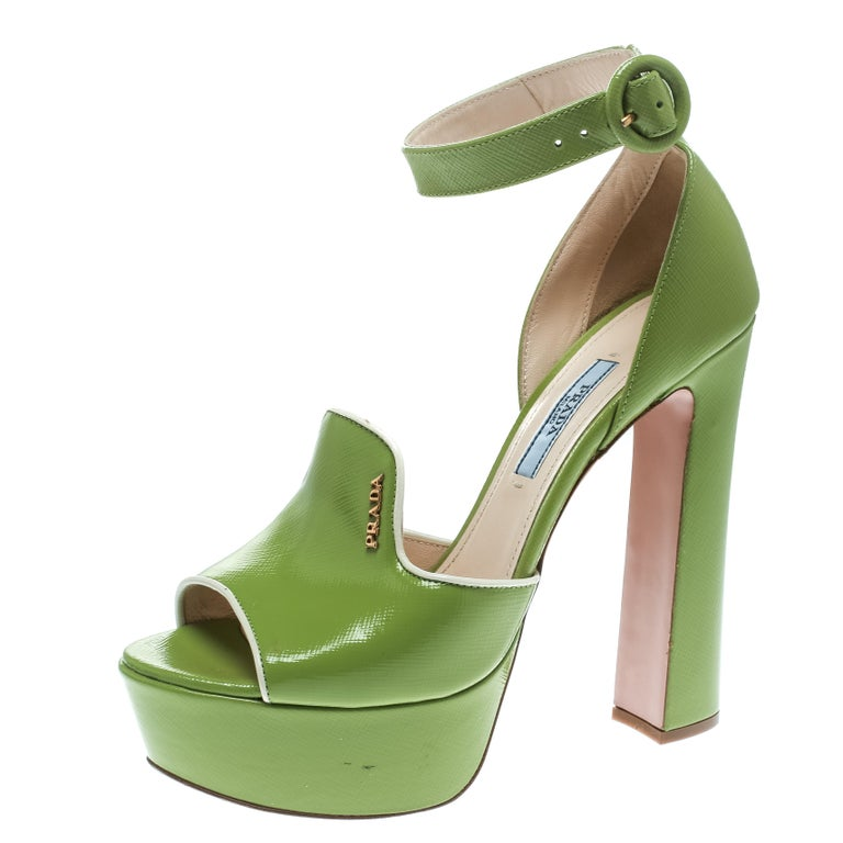 1fa0aed80 Prada Green Leather Ankle Strap Platform Sandals Size 36 For Sale at ...