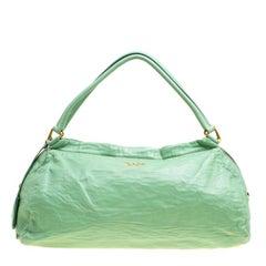 Grüne Leder Bowler Bag von Prada