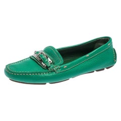 Prada Green Leather Buckle Detail Slip On Loafers Size 36.5