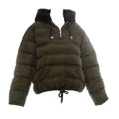 Prada green nylon and beaver fur puffer sweater, fw 1993