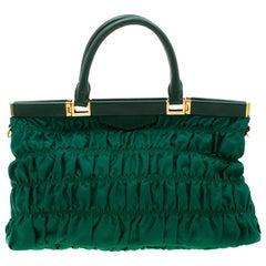 Prada Green Nylon and Leather Gaufre Tessuto Tote