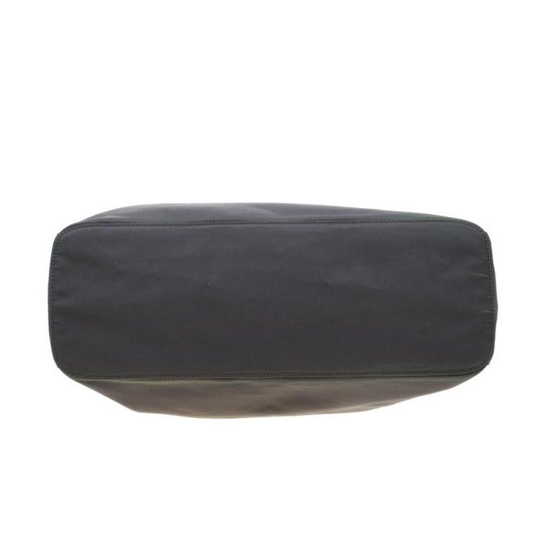 Prada Green Nylon Metal Handle Shoulder Bag For Sale 1