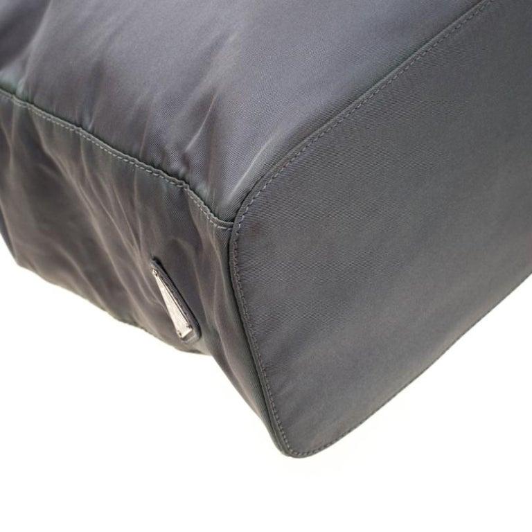 Prada Green Nylon Metal Handle Shoulder Bag For Sale 5