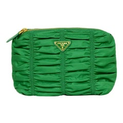 Prada Green Ruched Nylon Clutch/ Cosmetic Bag
