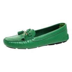 Prada Green Saffiano Leather Bow Loafers Size 40