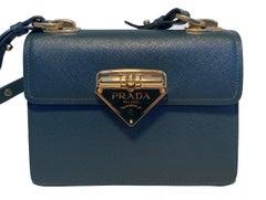 Prada Green Saffiano Leather Logo Flap Shoulder Bag