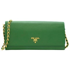 Prada Green Saffiano Leather Wallet on Chain