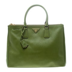 Prada Green Saffiano Lux Leather Large Double Zip Tote