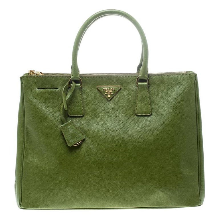 Prada Green Saffiano Lux Leather Large Double Zip Tote For Sale