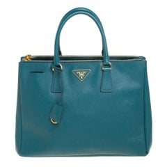 Prada Green Saffiano Lux Leather Medium Double Zip Tote