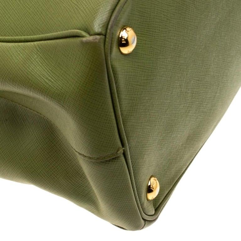 Prada Green Saffiano Lux Leather Parabole Tote For Sale 6