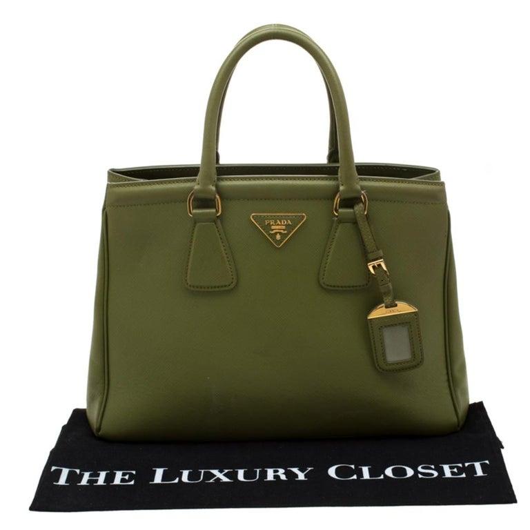 Prada Green Saffiano Lux Leather Parabole Tote For Sale 8