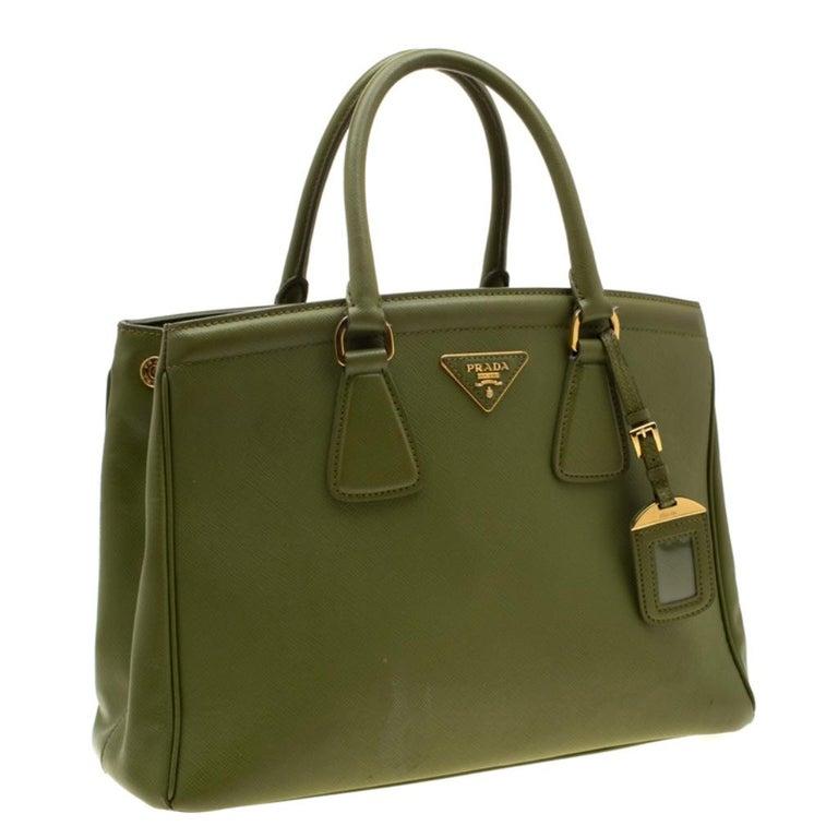 Women's Prada Green Saffiano Lux Leather Parabole Tote For Sale
