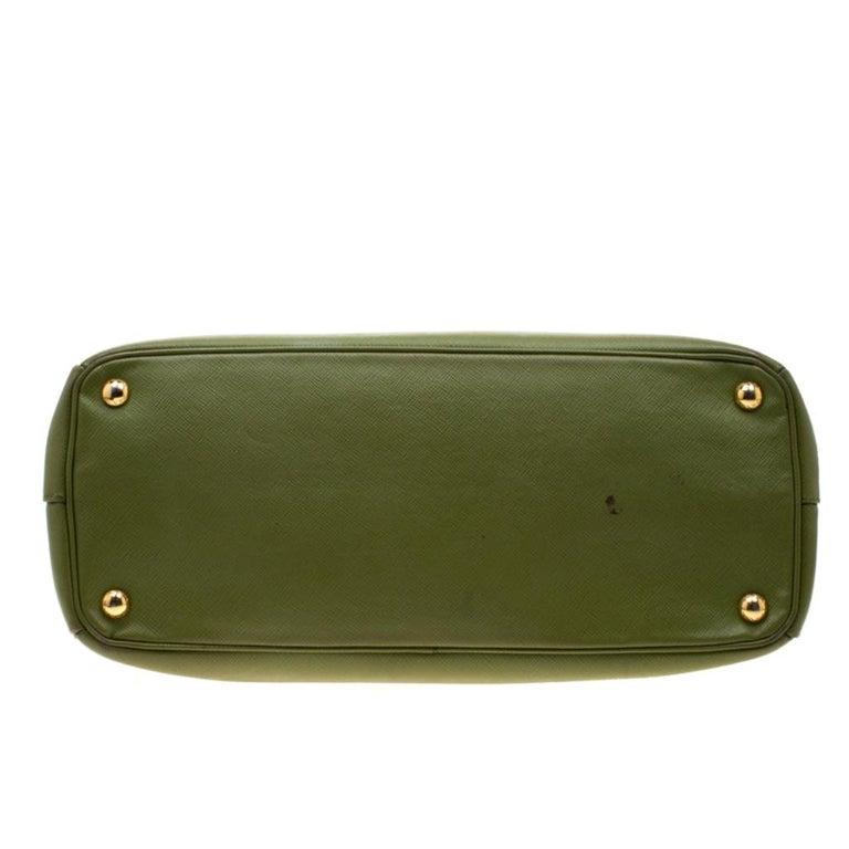 Prada Green Saffiano Lux Leather Parabole Tote For Sale 1