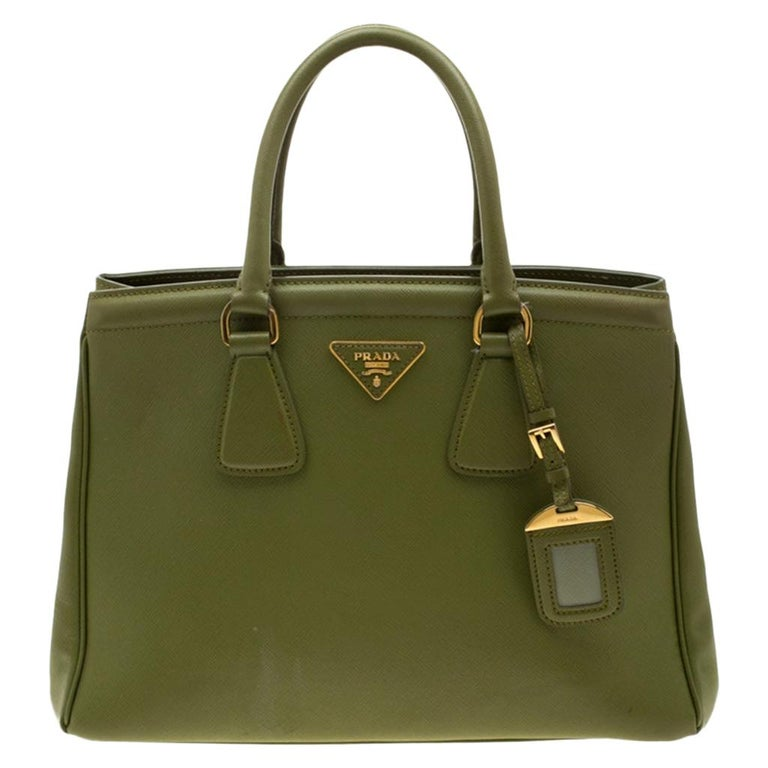 Prada Green Saffiano Lux Leather Parabole Tote For Sale