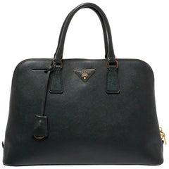 Prada Green Saffiano Lux Leather Promenade Bag
