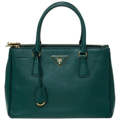 Prada Green Saffiano Lux Leather Small Double Zip Tote