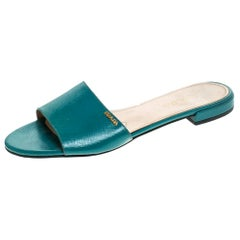 Prada Green Saffiano Patent Leather Flat Slides Size 38.5