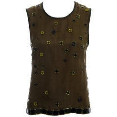 Prada green silk organza embellished vest with open back, fw 1999