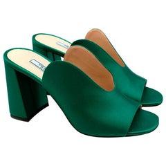 Prada Green Silk Satin Mango Mules - Size 37