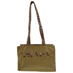 Prada green swarovski logo shoulderbag