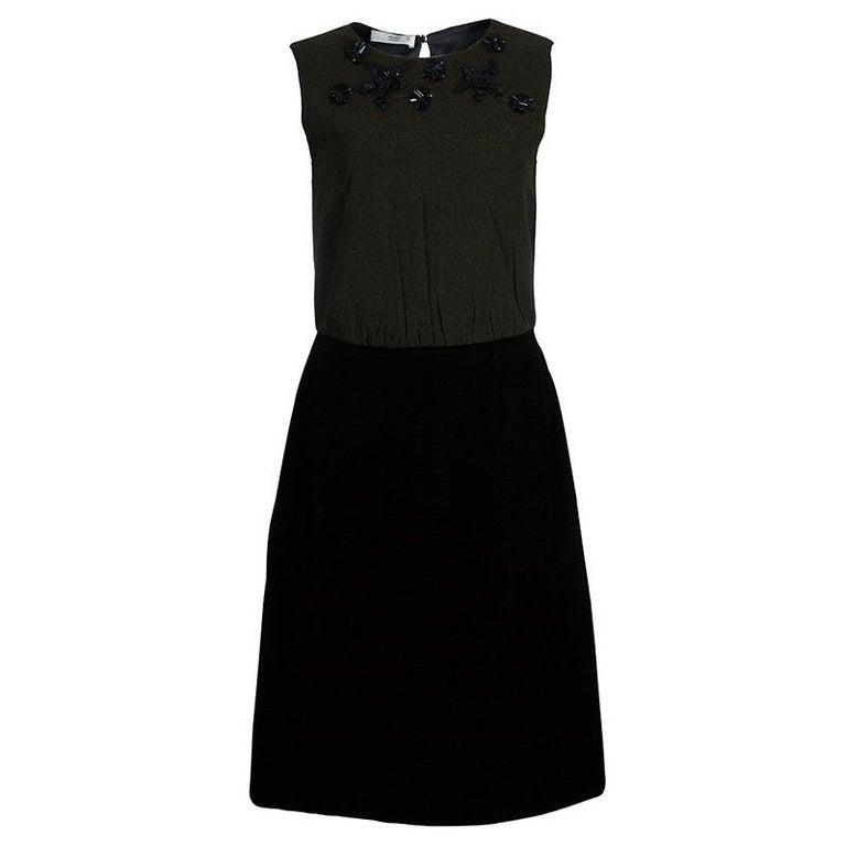 058839d5db8 Prada Green Tweed-Velvet Embellished Dress M For Sale at 1stdibs