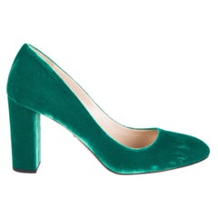 PRADA green VELVET BLOCK HEEL Pumps Shoes 38