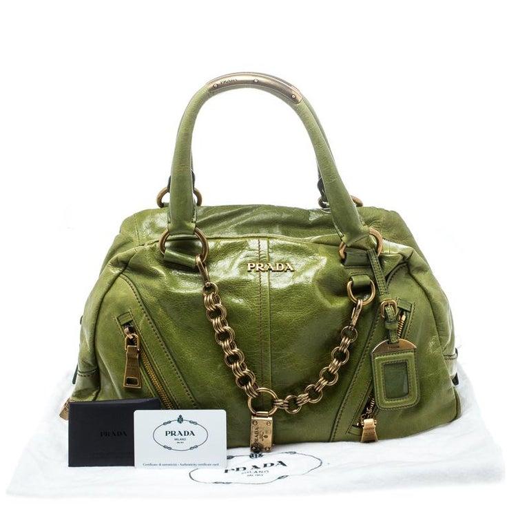 Prada Green Vitello Shine Leather Bowler Bag For Sale 6