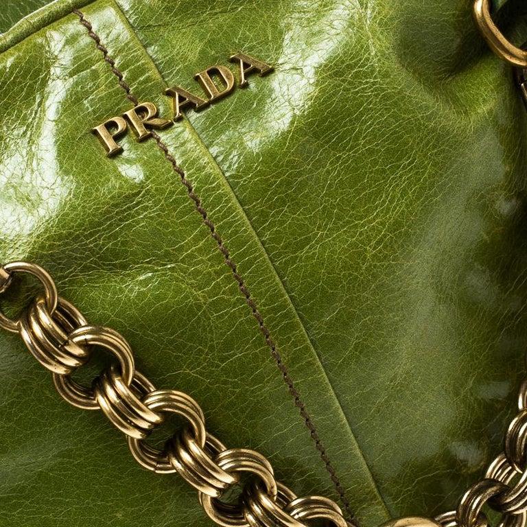 Prada Green Vitello Shine Leather Bowler Bag For Sale 1