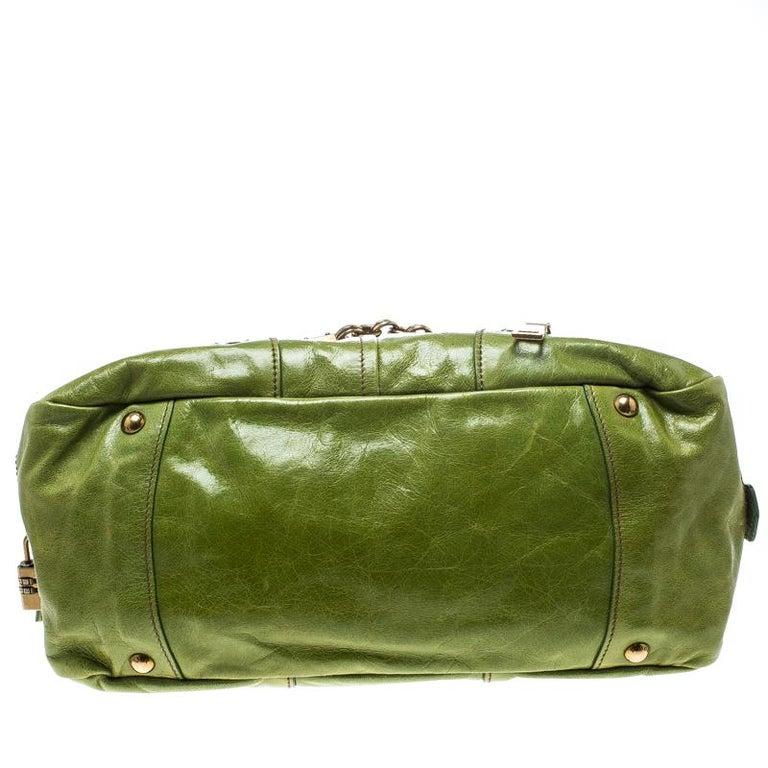 Prada Green Vitello Shine Leather Bowler Bag For Sale 2