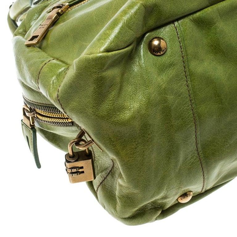 Prada Green Vitello Shine Leather Bowler Bag For Sale 4