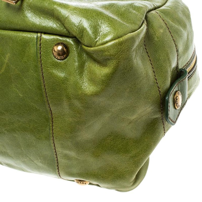 Prada Green Vitello Shine Leather Bowler Bag For Sale 5