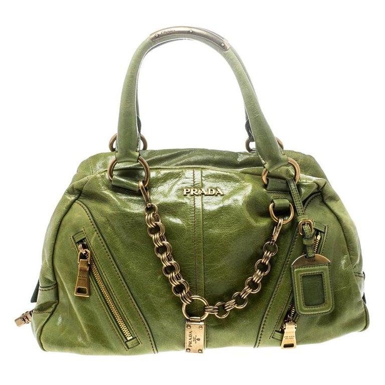 Prada Green Vitello Shine Leather Bowler Bag For Sale