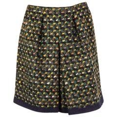 PRADA green wool BOUCLE BOX PLEAT Short Skirt 38 XS