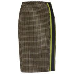 PRADA green yellow wool PLAID SIDE STRIPE Knee-Length Skirt 40 S