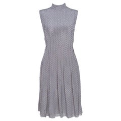 Prada Grey and Mauve Geometric Printed Silk Pleated Dress M