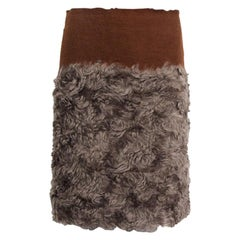 PRADA grey & brown mohair & cotton COLORBLOCK Skirt 38 XS