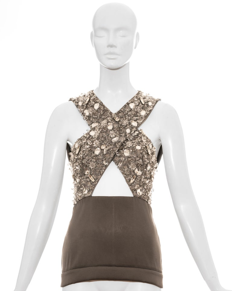 Prada grey crystal embellished evening vest with cut-out cleavage and back zip fastening.   Spring-Summer 2010