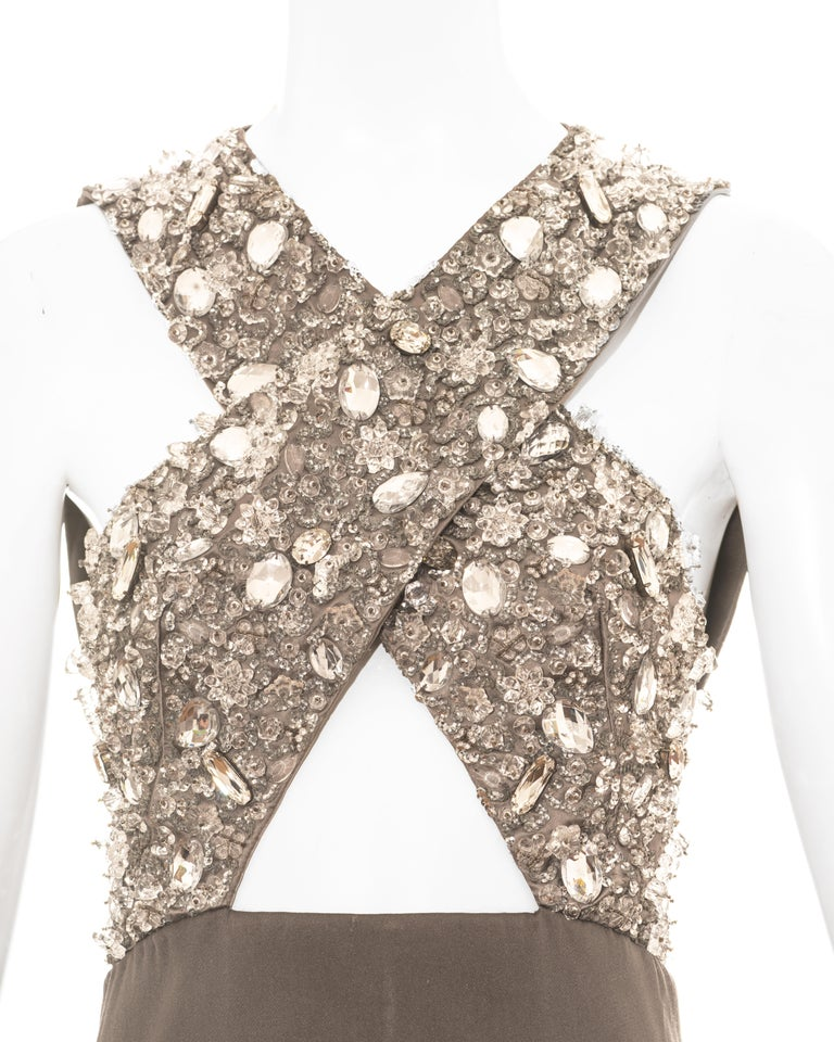 Prada grey crystal embellished evening vest, ss 2010 In Good Condition For Sale In London, GB