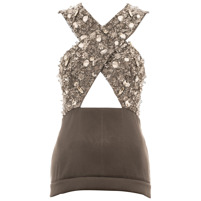 Prada grey crystal embellished evening vest, ss 2010