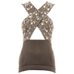 Prada grey crystal embellished evening vest, ss 2010