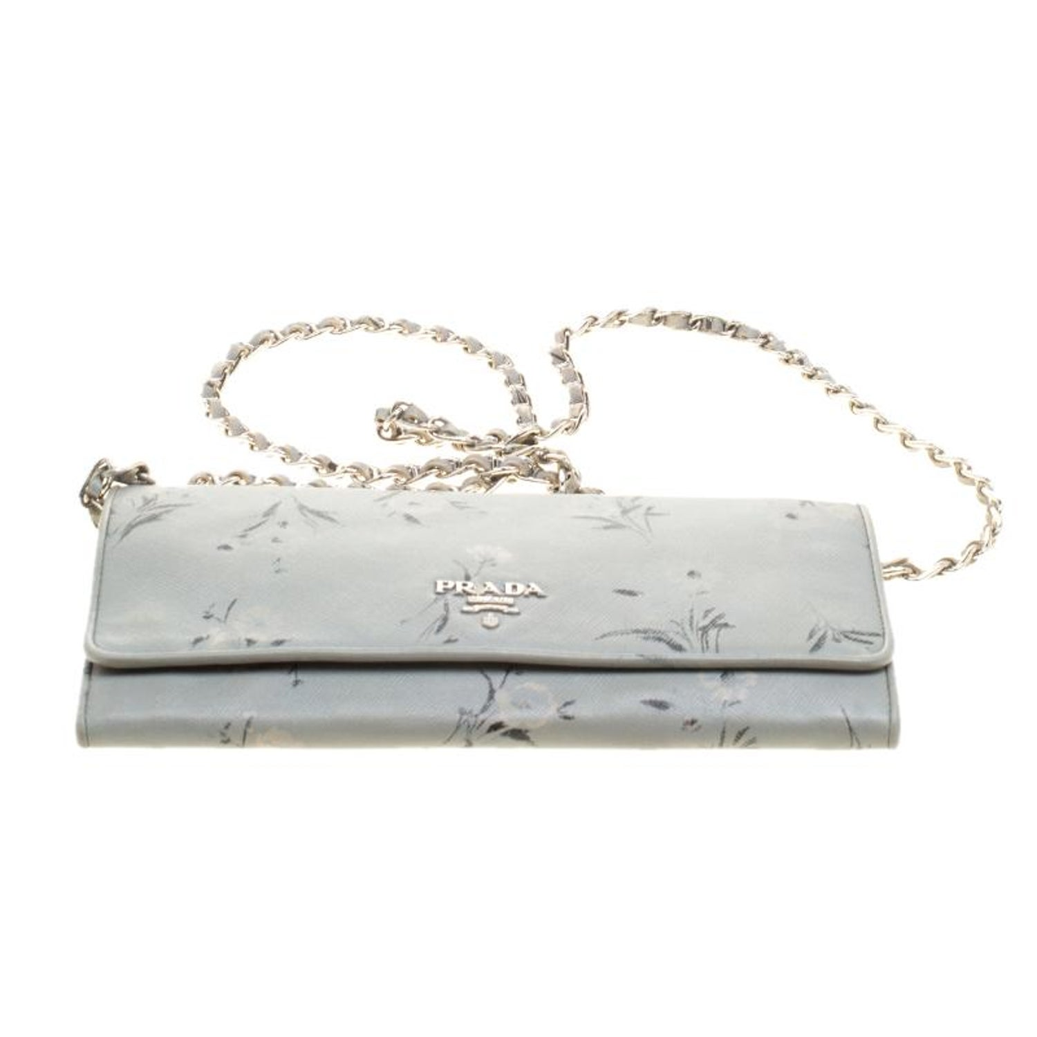aa869cfe404e Prada Grey Floral Print Saffiano Leather Wallet on Chain For Sale at 1stdibs