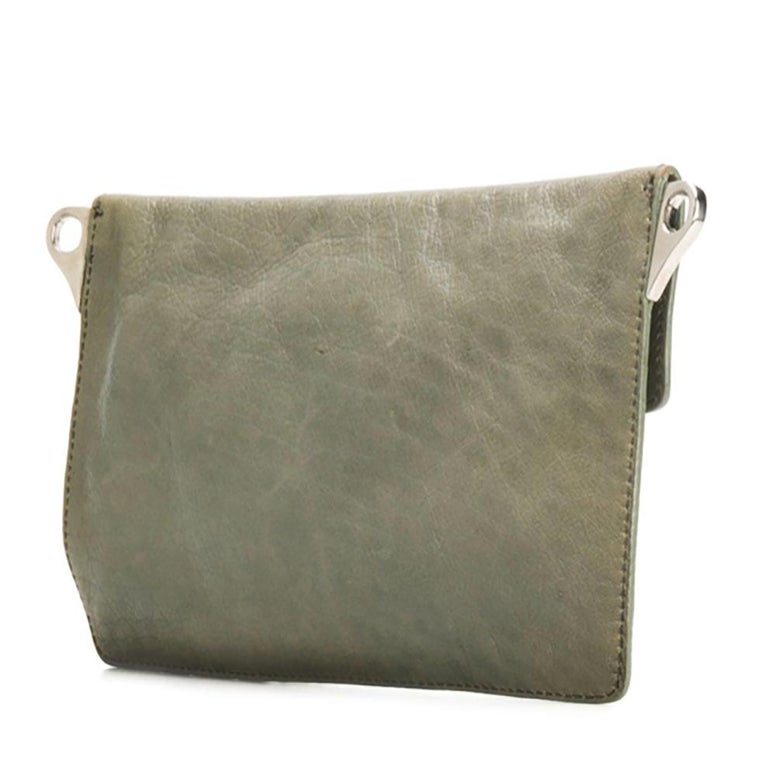 Prada Grey Green Chain Strap Evening Bag In Excellent Condition For Sale In Paris, FR