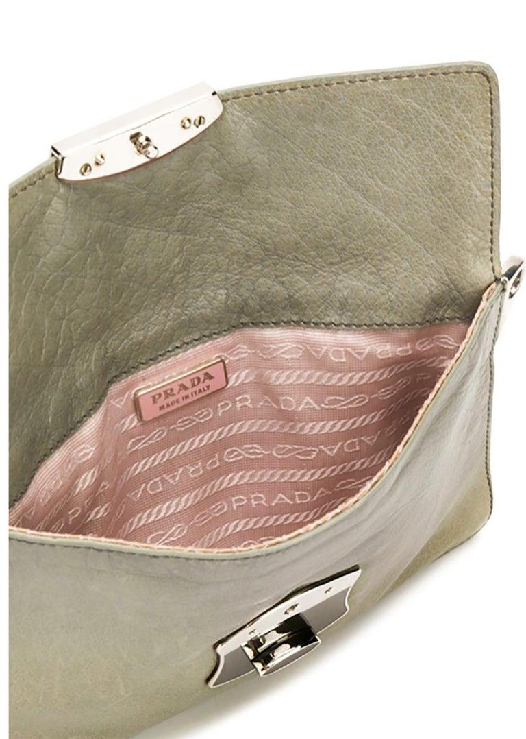 Women's Prada Grey Green Chain Strap Evening Bag For Sale