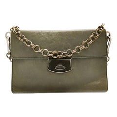 Prada Grey Green Chain Strap Evening Bag